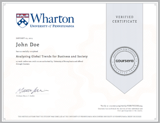 Coursera globaltrends 2015 Business Management Online Certificate