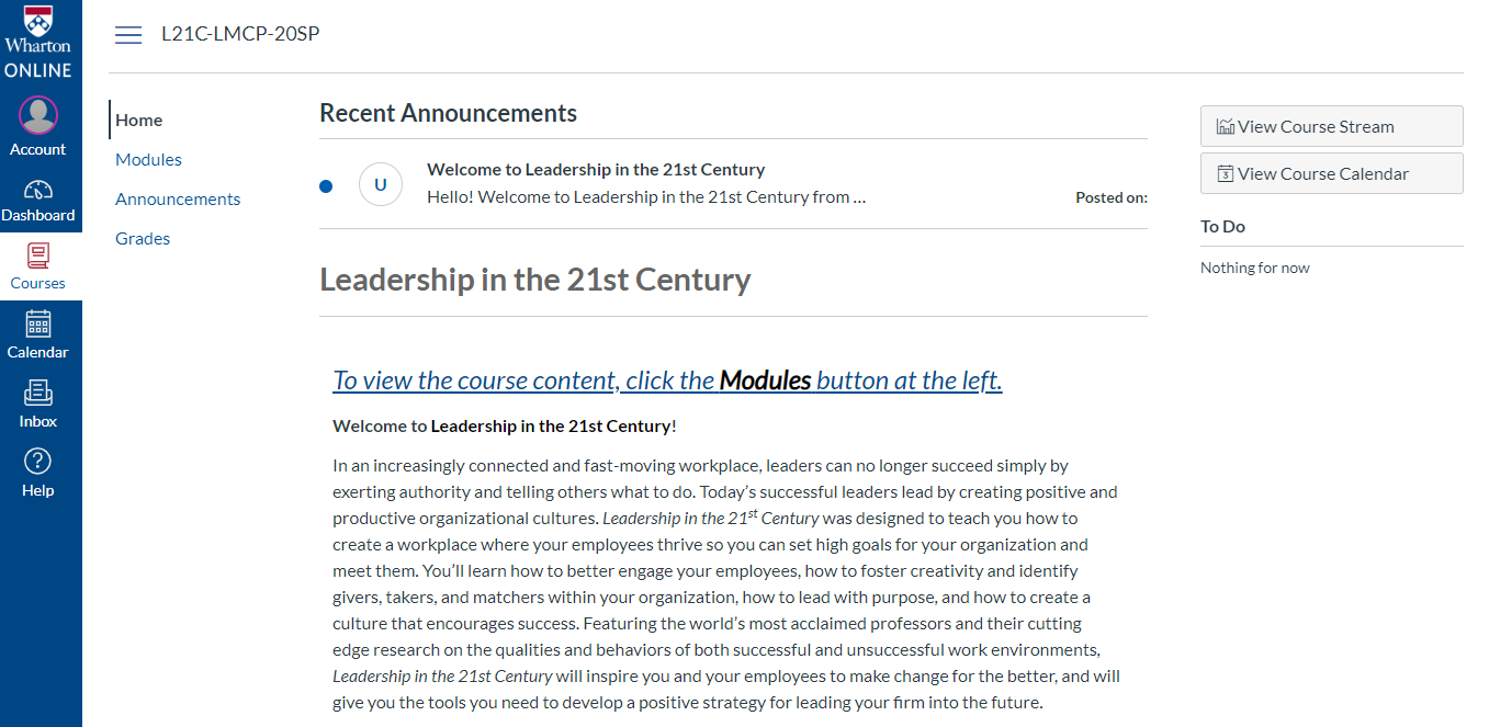 Screenshot of Wharton Online's leadership and management course homepage