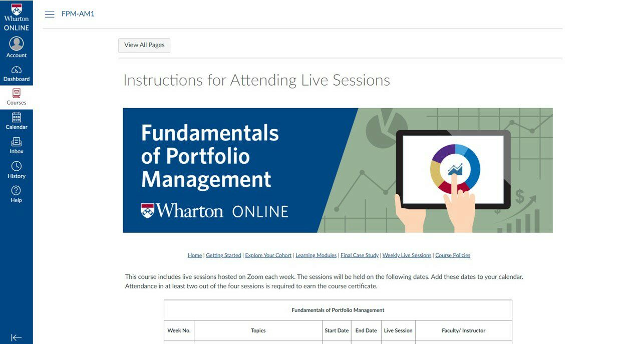 Wharton Online asset and portfolio management certificate program weekly live session