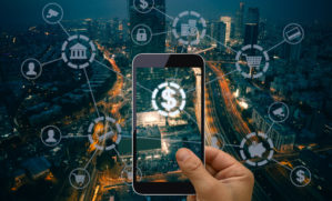 iPhone virtually connecting to many fintech applications